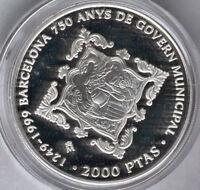 2000 Pesetas 1999 750 Aniv. Ayuntamiento de Barcelona Sin estuche ni certificado