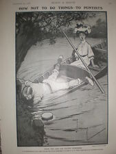 How Not to Do Things River Punting Charles Crombie cartoon 1906 old print