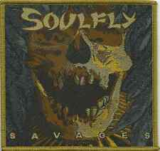 SOULFLY savages 2014 - oblong/gold WOVEN SEW ON PATCH official merchandise
