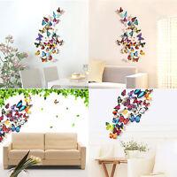 12//24pcs 3D Butterfly Sticker DIY Design Decal Art Wall Sticker Room Home Decor