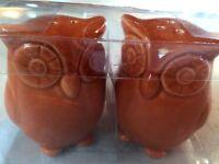 ceramic Owl Salt And Pepper Shakers Fall Autumn