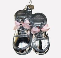 Baby 1st Christmas Noble Gems Ornament Silver Pink Girl Shoes Glass Kurt Adler