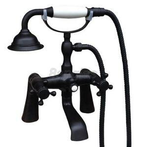 Deck Mount Black Oil Brass Bathroom Hand Shower Faucet Set Tub Mixer Taps 8tf500