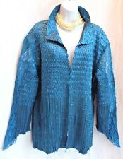 TOFFEE APPLE Turquoise Crinkled Jacket Top 3X XXXL Lace Trim Long Sleeve & Side
