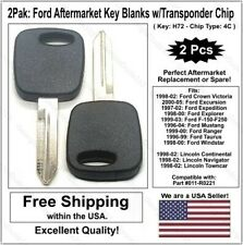 2Pak: Ford H72 Aftermarket Key Blank w/ No Logo & 4C Transponder Chip. Fits Ford