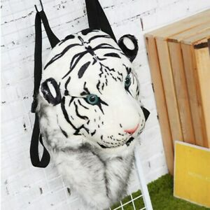 Unisex Lovers Animal Tiger Head Plush Backpack Creative Simulation Shoulder Bag