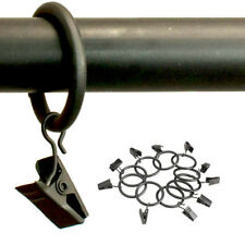 "16 Metal Curtain Drapery Ring Clip 1"" Inner Diameter Fit Up To .75"" Rod Black"