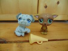 Littlest Pet Shop Sportiest #507 Greyhound Whippet #508 Grey Bulldog 2007