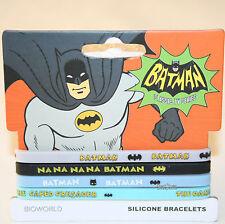 "NEW DC Comics Batman Silicone Rubber Bracelet 4 PK 1/4"" Wide Na Na Crime Fighter"