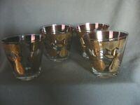 MID-CENTURY GLASS TUMBLER SIGNED CULVER FLORETINE FRUIT PATTERN -FOUR