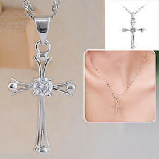 Womens Silver Cross Crystal Charm Chain Necklace Pendant Elegant Jewelry Gift