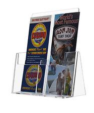 "Clear Acrylic Dual 4"" x 9"" Tri-Fold Brochure Literature Holder Display Stand"