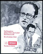 1974 Selmer Mark VI saxophone Paul Desmond portrait vintage print ad