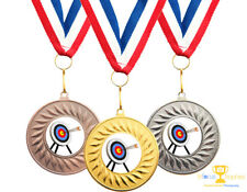 10 x Archery Metal Medals + Ribbons High Quality Free Delivery