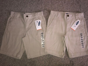 NWT Lot of 2 Pair Old Navy Khaki Beige Youth Shorts Built-In Flex Boy's Size 8
