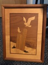 Wood Inlay Nelson Marquetry Seagulls Near Mint!