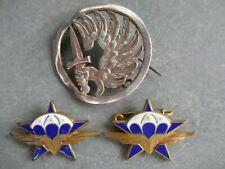 Rare lot 3 insignes parachutistes 1er RCP Indo Algérie + insigne béret fab local