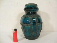 60er / 70er Ruscha FAT LAVA Vase 'Costa' in Azur-Blau Tönen mit Krustiger Lava