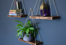 Set of Three Floating Reclaimed Rustic Wooden Shelves. Hanging Shelves
