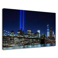 Brooklyn Bridge New York City Night View Lights  Canvas Wall Art Picture Print