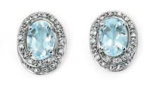 9ct White Gold Blue Aquamarine Diamond Cluster 11mm Oval Studs Earrings Gift Box