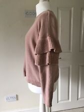 Brave Soul Size 14 M. Dusty Blush Pink Frill Sleeve Womans Soft Jumper.