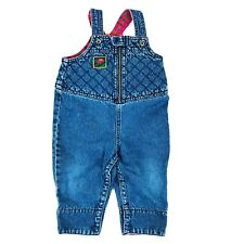 Gymboree Blue Jean Overalls Infant Quilted Plaid Lined Car One Piece Zip Denim