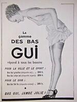 PUBLICITÉ DE PRESSE 1935 LA GAMME DES BAS GUI POUR LA VILLE ET LE SPORT