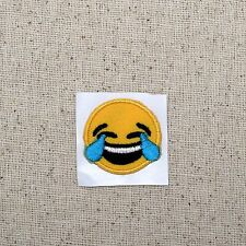 SMALL Smiley Face Laughing Tears Emoji - Iron on Applique/Embroidered Patch