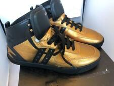 VERSACE MENS GOLD LEATHER HIGH TOP SNEAKERS SHOES, sz 7.5
