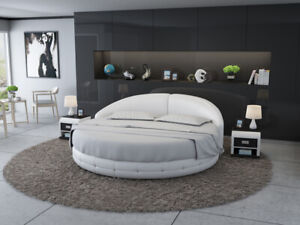 Design Round Bed Upholstered Bed Luxusbett Double Bed USB Beds White Immediate