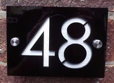 DOOR NUMBER PLAQUE MODERN ENGRAVED ACRYLIC / ALUINIUM EFFECT MODERN HOUSE SIGN