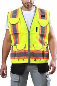 Kolossus Pro High Visibility Safety Vest 9 Pockets Padded Neck