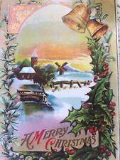 Vintage Christmas Postcard Windmill Sunset Bells Pink Bridge Star
