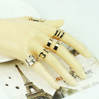 5pcs/Set Women 18K Gold Plated Knuckle Midi Stacking Finger Ring Opened