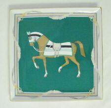 "Daniel Hechter Prancing Horse 9"" Square Porcelain Plate Dresser Tray Green White"