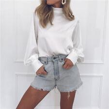 Womens Chiffon Long Sleeve T-Shirt Solid Lantern Sleeve Ladies Chic Blouse Tops
