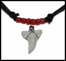 NEW! Genuine Shark Tooth Necklace (Red) Shark Teeth, Black Cord + Glass Beads