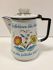 Vintage Swedish Berggren Porcelain Enamel Coffee Pot Folk Art
