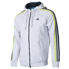 Mens adidas Performance 3 Stripe Hoodie Full Zip Tracksuit Top Grey Size X-Small