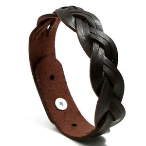 2021 New Cowhide Leather Cuff Bangles Classic Woven Men Women Wristband Unisex