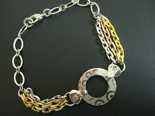 Bracelet - White and Yellow Gold Filled Bracelet with White G/F Circle