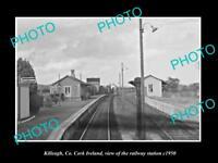 OLD LARGE HISTORIC PHOTO OF KILLEAGH CORK IRELAND THE RAILWAY STATION c1950