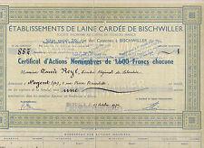 Etablissements de Laine Cardée de Bischwiller-Action 1600 Francs v. 1946