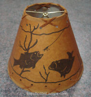 "Rustic ""Bulb Clip"" FISH Scene Table Desk Light LAMP SHADE Cottage Cabin Decor"