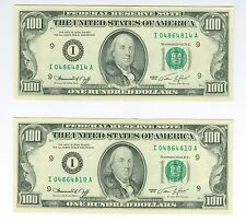 1974 $100 PAIR of Better Minneapolis FRN Gorgeous Nearly Consecutive AU+++/CU