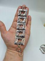 Lovely Modernist Sterling Silver Panel Bracelet  Signed DP India 925