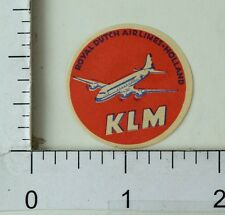 1940's-50's Royal Dutch Airlines Holland KLM Luggage Poster Stamp Label  F70
