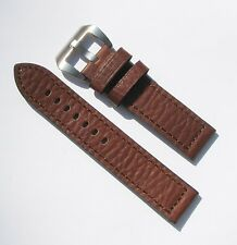 22mm Extra Thick Heavy Duty Leather Brown Watch Band with 2 Spring Bars