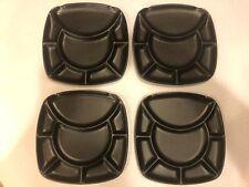 "4 Trudeau Charcoal Black Divided 8 Sections Ceramic Fondue Plates 9.5"" X 9.5"""